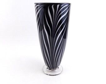 Black and White Blown Glass Vase