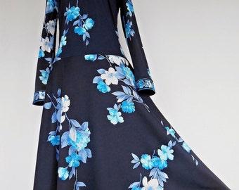 21% OFF :) BLUE SAKURA . S . Divine Kimono Colors Border Print Flare Skirt Dress . 70s