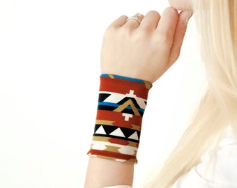 Aztec Bracelet, Boho Cuff, Wrist Cuff, Arm Band, Western Bracelet, Fabric Bracelet, Tribal Wristband Tattoo Coverup, Cuffs Tattoo Covers Up