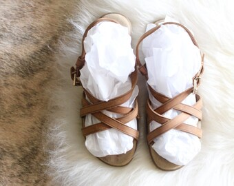 woven leather strappy sandals / 8