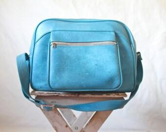 Vintage Oversized Aqua Weekend Bag