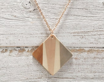 Ceramic Square Pendant, Taupe, Blush, Rose Gold, Unique Gift, Modern, Abstract, Gift for Her, Minimal, Ceramics, Ceramic Jewelry