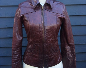 vintage 1970's Glasswater jacket . oxblood leather . american-made