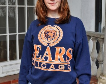 Vintage Navy and Orange Chicago Bears Crewneck Sweatshirt