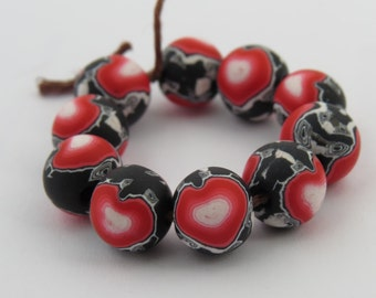 Beads, Heart beads, 10mm round beads, Handmade,  Valentines, DIY Crafts, Jewelry Supply, heart, red hearts, Shygar beads,  10 pieces