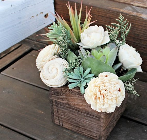 Succulent Arrangement Centerpiece Wood Box Home Decor Wood