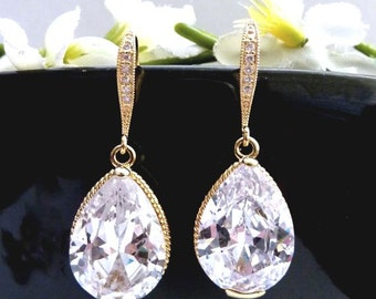 Bridal Earrings BIG Clear White Pear Shaped Cubic Zirconia with Yellow Gold Plated CZ Earrings