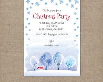 Snowy Christmas Party Invitation - Digital file - watercolour snowflakes invite