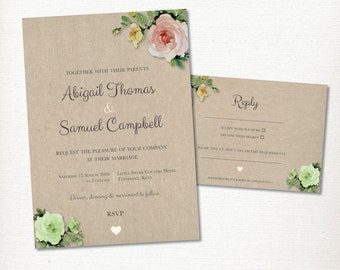 Floral Hessian Wedding Invitation and Reply card set – Print at home – Vintage Rose, Rustic and Romantic Watercolour