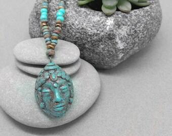 Buddha Head Necklace - Buddhist Jewelry - Earthy Bohemian Zen Spiritual Necklace - Yoga Jewelry