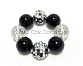 TODDLER Black, Silver and Clear Confetti Bling Chunky bracelet, Princess bracelet, Monochrome bracelet, Black and silver bracelet