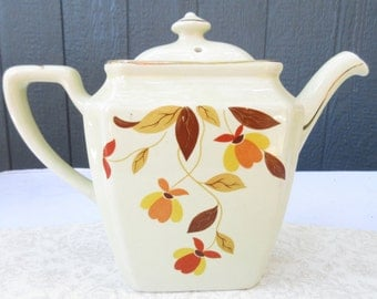 Hall Autumn Leaf Newport 1930's Teapot and Lid/Rare Fall Autumn Teapot/Thanksgiving Dinner Serving Tea/Coffee Pot