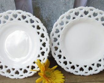 Set of Two Lace Edge Thick Plates/ 8 Inch Round White Plates/ Christmas Round Lace Edge Dessert Plates