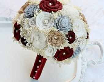 Maroon Burlap Wedding Bouquet // Dark Red Burlap, Grey, Gray, Sola Flower Bouquet, Dried Flower Bouquet, Fall, Winter, Christmas, Wedding