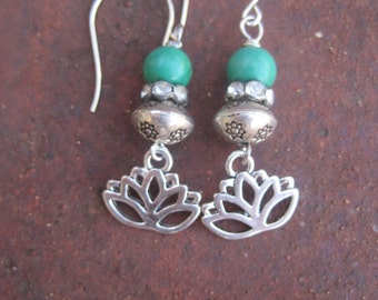 Bohemian Zen Silver Lotus Charm Earrings with Vintage Rondelles and Turquoise Stones - Lotus Flower Earrings - Turquoise Earrings