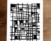 Linocut Print - Modern Intersecting Lines 8 x 10 Block Print - 1-7018