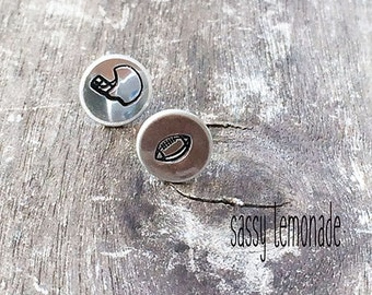 Mix Match Football Earrings / Hand Stamp Surgical Steel Earrings / Dainty Football Studs / Football & Football Helmet Earrings