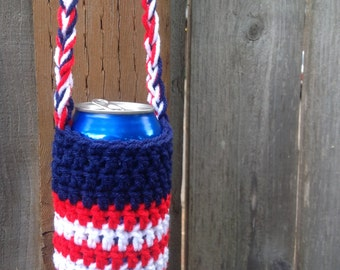 Hands-Free Can Coozie in Red, White, & Blue. Coozie. Cozy. Patriots. Super Bowl. Tailgating. Hunting. Fishing. BBQ. Memorial Day. July 4th