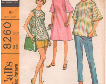 1966 - McCalls 8260 Vintage Sewing Pattern Maternity Size 16 Bust 36 Dress Top Pants Shorts Separates Flared French Darts