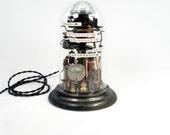 Industrial Steampunk Lamp Illuminated Assemblage Art