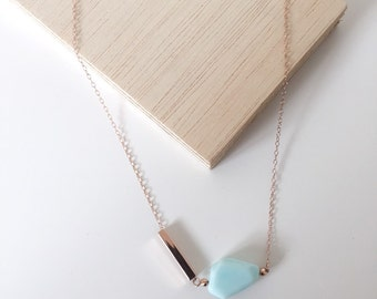 Peruvian Opal on Rose Gold Necklace