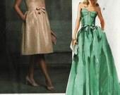 PATTERN Vogue 2837 Strapless dress constructed fitted bustier princess seams full gathered skirt Size 14-16-18 Oscar de la Renta (uncut)