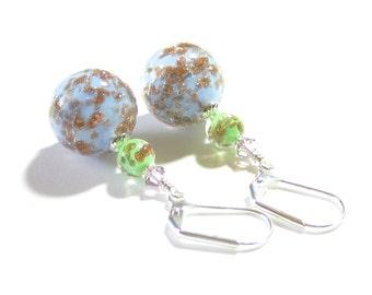 Lampwork Glass Ball Earrings, Murano Glass Blue Copper Earrings, Italian Jewelry, Venetian Jewelry, Sterling Silver Leverbacks, For Her