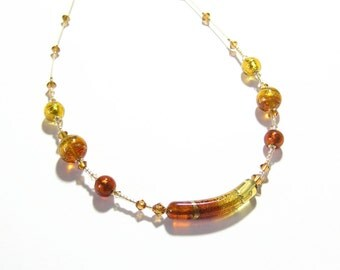 Murano Glass Topaz Curved Tube Gold Necklace, Venetian Glass Jewelry, Italian Glass Jewelry, Gifts For Her, Lampwork Glass Amber Necklace
