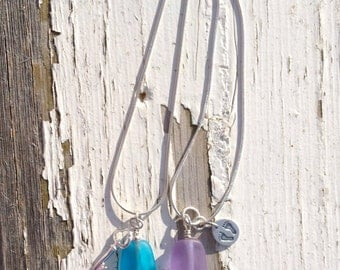 Necklace - Etched Glass Beads with Sterling Silver Charm