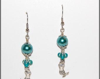 Mermaid pearl teal earrings-Summer days ocean beach vacation earrings-teen tween jewelry-gift for her-womens jewelry-bohemian chic-SRAJD