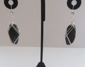 Vintage Wire Wrapped Black Stone Earrings