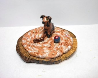 Puppy Dog on a Rug-OOAK-Polymer Clay