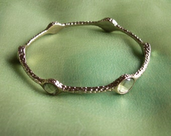 Gold Tone Textured Bangle with Clear Acrylic Faceted Scattered Gems Jeweled Bracelet