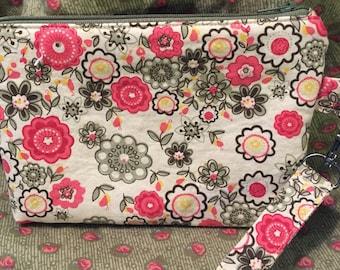 Wristlet, Cosmetic Bag, Purse Organizer, Flowers, Pink, Green, Make-up Bag