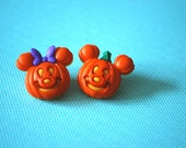 Halloween Mickey Mouse Pumpkin Earrings -- Mickey and Minnie Mouse, Mouse Ears, Halloween Earrings