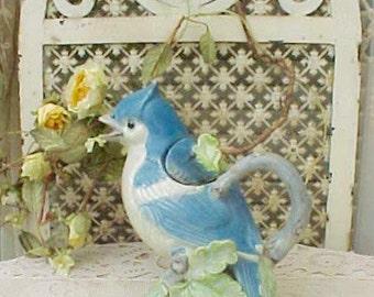 Darling Vintage Ceramic Blue Jay Teapot
