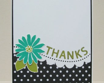 Thanks Card with Flower, Handmade Thanks Card, Die Cut Thanks Card