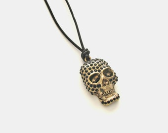 Sale Jewelry 30%, Skull Necklace, Gothic Pendant, Evil Necklace, Black Goth Necklace, Day of the dead