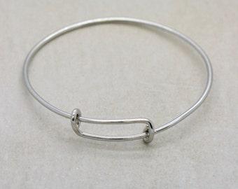 1 - Silver Expandable Bracelet Wire Charm Bracelet Sterling Silver Plated 2mm Thick Expandable Wire Bracelet (DA154)