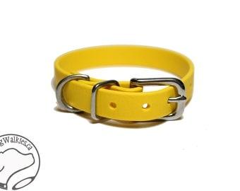 "Sunflower Yellow Little Dog Collar - 1/2"" (12mm) Thin Beta Biothane Dog Collars - Waterproof Small Dog Collar"