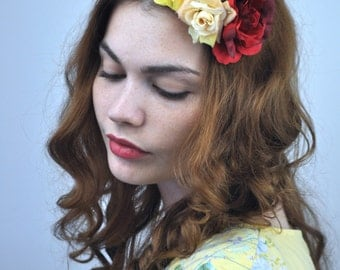 Roses Flower Fascinator in Yellow, Crimson and Peach  | Floral Hair clip | Flower Headpiece | Festival Hair Clip | Rose Hair Clip