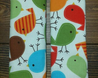 Reversible Car Seat Strap Covers Ann Kelle Bermuda Birds with Brown Dimple Dot Minky Cuddle Unisex Baby Gift Accessories ITEM #133