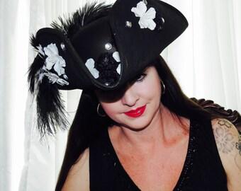 CAPTAIN DOMINO Lady Pirate Style Headdress Hair Adornment bLack & White