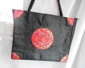 Red Satin Japanese Komono Sytle Purse, Oriental Red Satin.  Handbag.