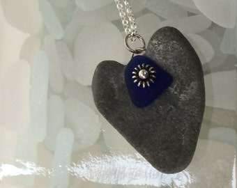 maine heart sea stone with cobalt blue sea glass necklace, OOAK, sterling silver necklace, Maine beach stone necklace, heart rock necklace