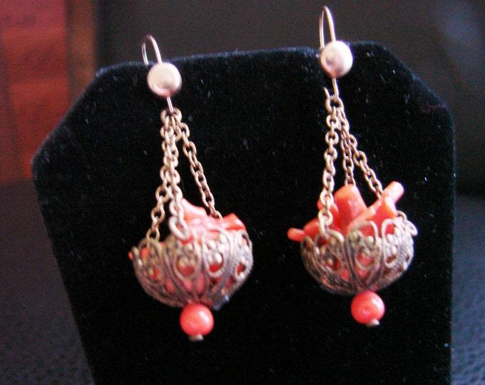 Antique Branch Coral Chandelier Drop Earrings / Filigree / Vintage Jewelry / Jewellery