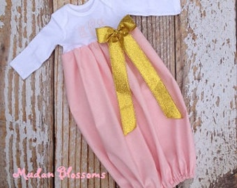Easter baby gown dress, Take home gown, spring infant gown, monogram Easter baby gown, newborn, 0-3m, 3-6m