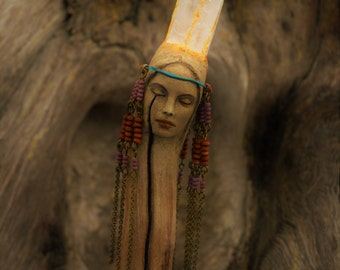 Thunder Within, Reserved for Gail, Quartz Crystal Driftwood Wand by ShapingSpirit