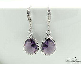 Amethyst Purple Earrings Bridal Earrings Teardrop Earrings  Bridesmaid Gift  Wedding Jewelry Purple Earrings