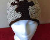 Crochet hat, crochet beanie, knit hat, knit beanie, Reindeer, silhouette, medium adult hat, oatmeal, brown, natural, rugged, outdoorsy